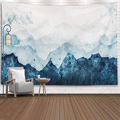 EMMTEEY Tapestries,Tapestries Décor Living Room Bedroom for Home Inhouse by Printed 60X50 Inches Blue Mountains Silhouette Fading in Distance Perspective Watercolor Painting On Paper