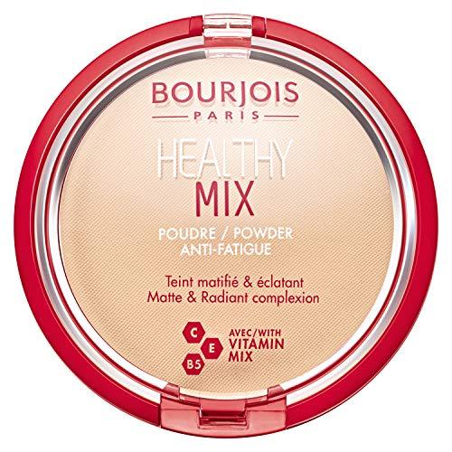 Bourjois Cipria Compatta Healthy Mix Zero Segni di Stanchezza, Formula Opacizzante e Uniformante con Vitamine A, E e B6, 01 Vanille, 11 gr