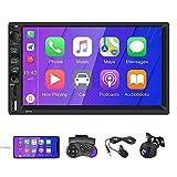 Autoradio 2 Din 7 pollici Touch Screen compatibile con Car-Play/Auto Play MP5 Car Multimedia Player con autoradio Bluetooth FM TF/USB AUX Microfono esterno Telecamera posteriore Controllo del volante