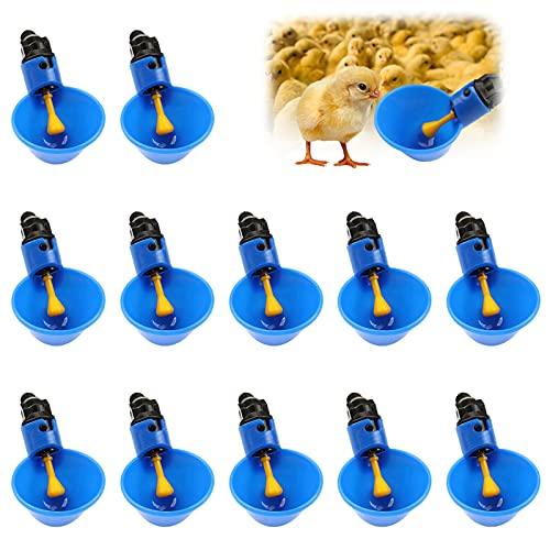 12 Piezas Pollo Bebedero, Taza de Aves de Corral de Plástico Aves de Corral Tazas de Bebederos Vaso de Agua para Aves de Corral Gallinas de Pollo Gallinero