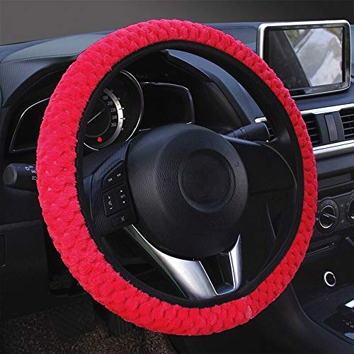 Bil ratt Cover Car-styling Universal mjuka varma plysch Covers Auto dekoration vinterhjul Protector WANGXINQUAN (Color : Red, Size : Free)