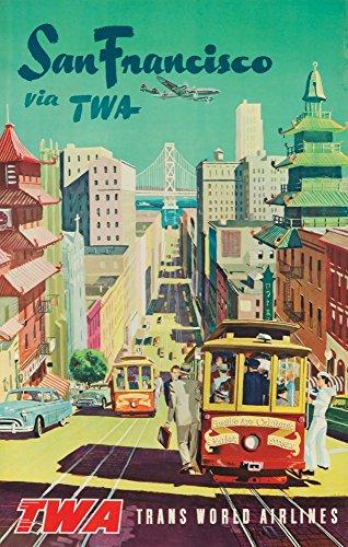 Twa – San Francisco vintage Poster USA C. 1954 12 x 18 Art Print multicolore