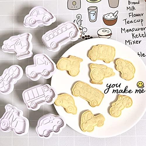 GS 8 Pack Ausstechformen,Cookie Backen Form ,Fahrzeugs 3D-DIY Cookie Cutter, Handpresse Keksstempel, Keksausstecher Osterausstecher Plätzchenform
