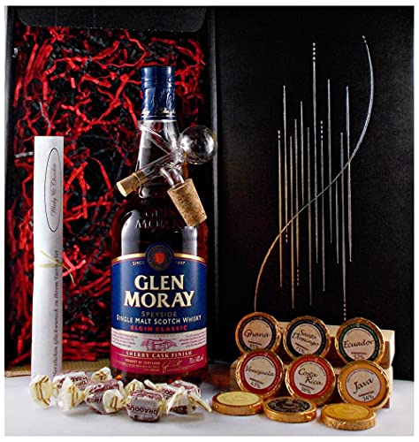 Geschenk Glen Moray sherry cask Single Malt Whisky + Glaskugelportionierer + Edelschokolade + Fudge