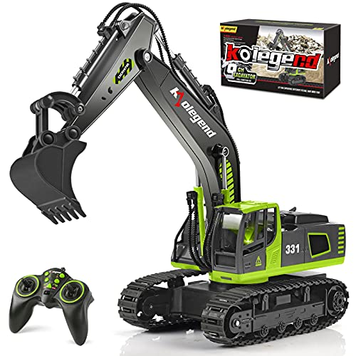 kolegend Remote Control Excavator Toy Truck, 1/18 Scale RC Toys Hydraulic Excavator Construction Vehicles for Boys Girls Kids RC Tractor with Lights Rechargeable Battery