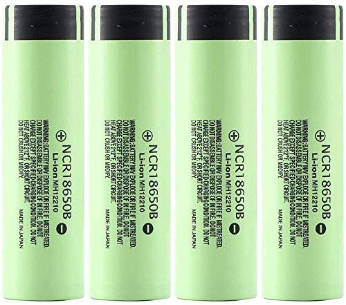 WSPY 4 Pcs Pilas Recargables 18650 Litio Lones Batería 3.7V 3400mah Capacidad NCR Baterías de Litio Células Acumuladoras para LED Linterna Antorcha Timbre de Puerta Verde-4PCS