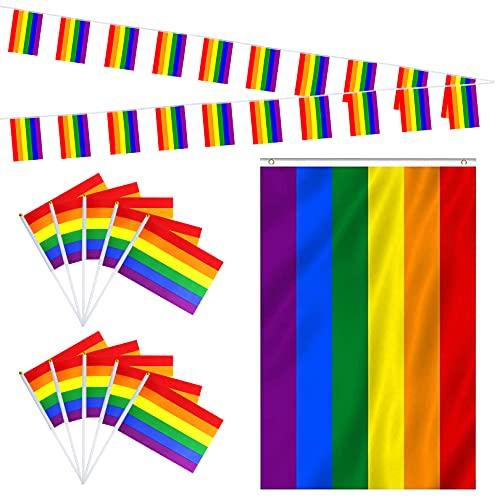 Gay Pride Regenbogen-Flaggen-Set, 5 m große Flagge, 90 x 150 cm, Regenbogen-Banner, Wimpelkette & 10 kleine Handflaggen mit Stäben für Gay Pride Day, Pride Festival, Karneval, Party Parade