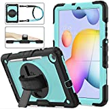 SEYMAC Stock Galaxy Tab S6 Lite 10.4 Case 2020, [Full-Body] & [Shock Proof] Hybrid Armor Protective Case with 360 Rotating Stand & Strap for Samsung Tab S6 Lite 10.4'' P610/P615 (SkyBlue+Black)