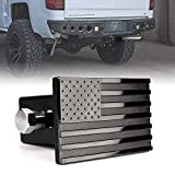 [Upgrade] Xprite Aluminum Trailer Hitch Cover, Heavy Duty 2' Inch Tow Rear Receivers Plug Covers, USA American Flag Metal Emblem Guard for Trucks Cars SUV - Black