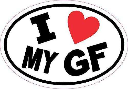 StickerTalk Oval I Love My GF Vinyl Sticker, 5 inches by 3.5 inches