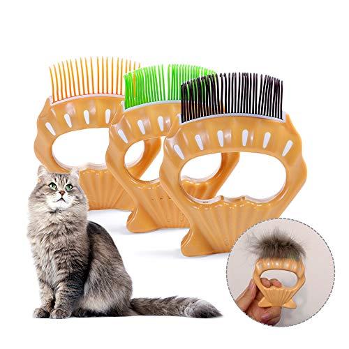 Qisiewell Tierbürste Tierhaarentferner Massagekamm A3 Mittel Kurzhaar Pet Shell Muschel-Kamm Haustierbürste elastischen ABS-Bürste Kurzhaarige Kleine Katze Hund Unterhaarentfernung