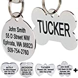 GoTags Stainless Steel Pet ID Tags, Personalized Dog Tags and Cat Tags, up to 8 Lines of Custom Text, Engraved on Both Sides, in Bone, Round, Heart, Bow Tie, Flower, Star and More (Dog Bone, Regular)