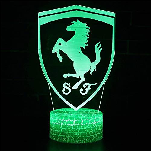 Preisvergleich Produktbild Vitila Illusion-Licht-Nachtlicht-Nachttischlampe Des Ferrari-3D Led Bunte Änderungs-Kreatives Geschenk,  Schwarze Unterseite: Bunte Note