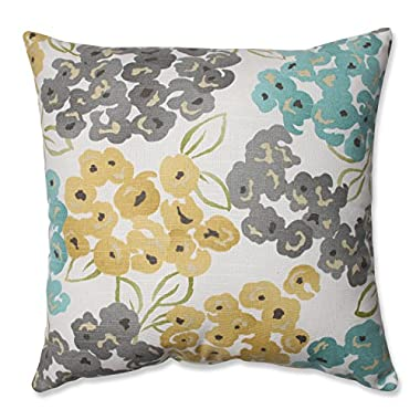 Pillow Perfect Luxury Floral Pool Throw Pillow, 16.5 , Aqua/Grey Yellow