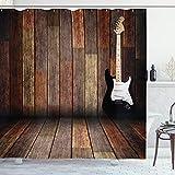 ABAKUHAUS Popstar-Party Duschvorhang, Gitarre Holz Zimmer, Leicht zu pflegener Stoff mit 12 Haken Wasserdicht Farbfest Bakterie Resistent, 175 x 200 cm, Braun Schwarz Weiß