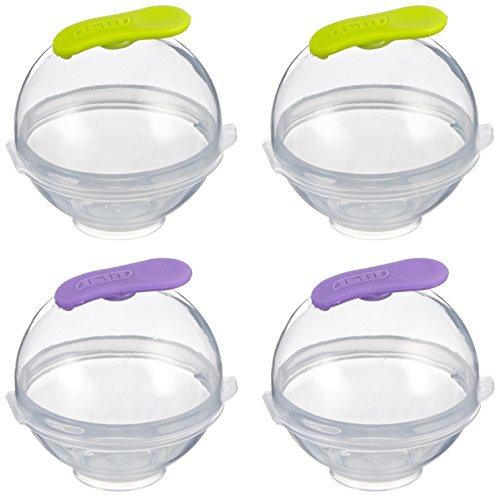 IBILI 870500 - Contenitore per sfere di ghiaccio per Gin&tonic, in silicone e plastica, posizionabile in verticale, diametro 5,5 cm, confezione da 4 pezzi