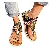 Cenglings Sandals, Women Plus Size Clip Toe Flat Shoes Leopard Camouflage Print Flip Flop Strappy Lace Up Beach Rome Shoes