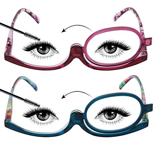 LianSan Occhiali da lettura a specchio per il trucco 1.5 per le donne Ingrandimento della lente rotante