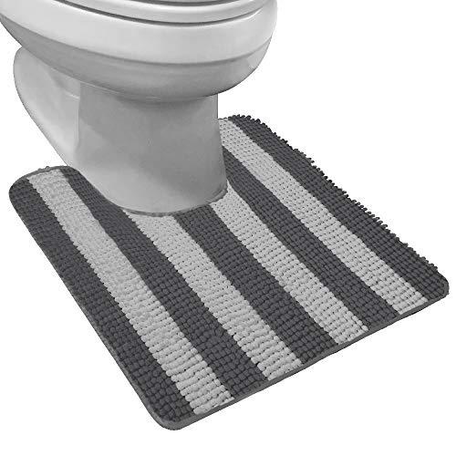 Gorilla Grip Shaggy - Alfombra de baño de chenilla contorneada para base del inodoro, forma de U ovalada, muchos colores, 22.5 x 19.5, lavable a máquina y seco, felpa, absorbente...