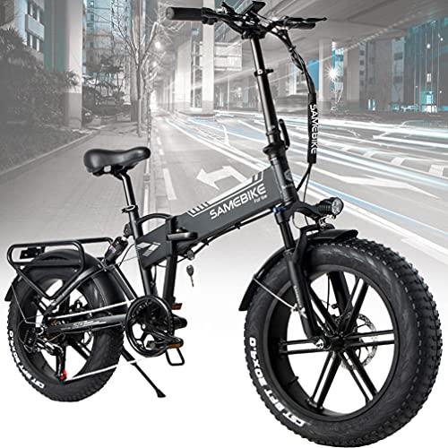 ZWJABYY Bicicleta EléCtrica Plegable 20 Pulgadas,Bicicleta EléCtrica MontañA Adulto,Ciudad Citybike con Faros Led,500W Motor,48V/10Ah BateríA Litio ExtraíBle,Velocidad MáXima 25 Km/H,Black
