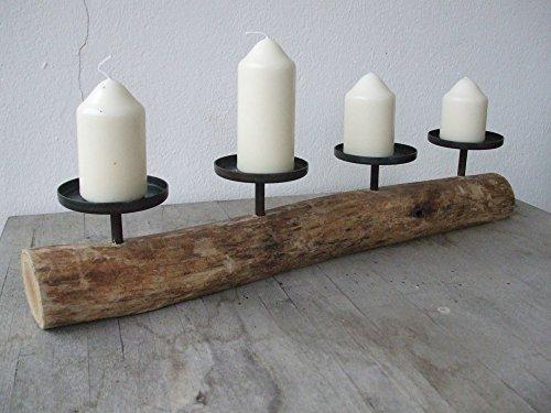 Deko-Impression Stilvoller Kerzenständer, 4er, Holz + Eisen, massiv, Natur, Landhaus