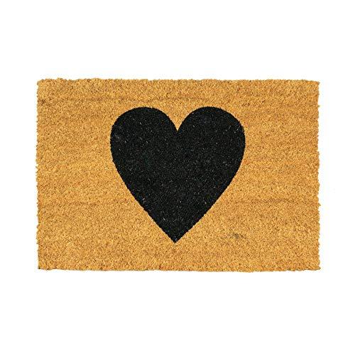 Nicola Spring Non-Slip Coir Door Mat - 40 x 60cm - Black Heart - PVC Backed...