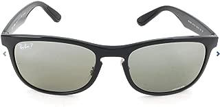 RB4263 Chromance Mirrored Square Sunglasses, Shiny Black/Polarized Silver Mirror, 55 mm
