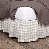 VHC Brands Farmhouse Annie Buffalo Check White Bed Skirt, King 78x80x16, Grey