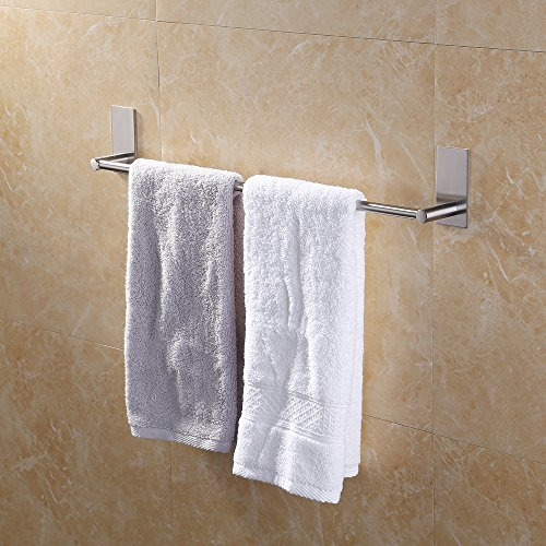 Kes Bathroom Lavatory 3M Self Adhesive Single Towel Bar 24-Inch Brushed Stainless Steel, A7000S55-2