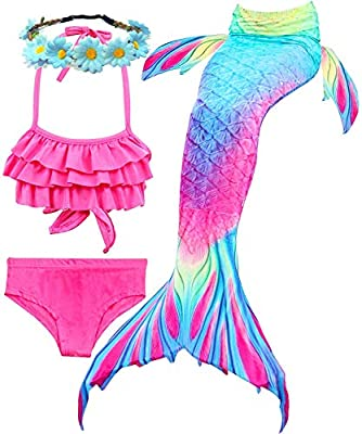 Camlinbo 3Pcs Girls Swimsuits Mermaid for Swimming Mermaid Costume Bikini Set for Big Girls Birthday Gift 3-14 Years (5-6X, 1A Ruffled-1)