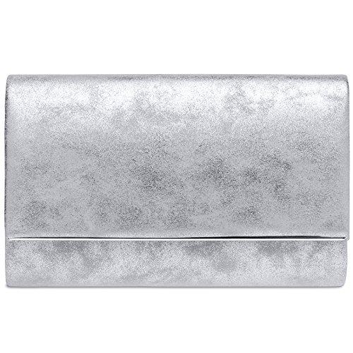 Caspar TA381 Damen elegante Clutch Tasche Abendtasche mit langer Kette, Farbe:silber, Größe:One Size