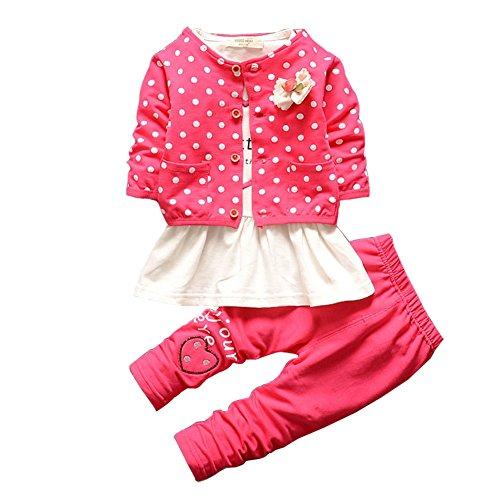 BOBORA 3 PCs Ensmeble Bebe Filles Enfants Polka Dots Manteau + Chemise + Leggings Pantalon 0-4Ans