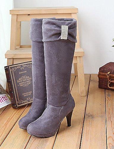 XZZ  Chaussures Femme - Habillé - Noir   Marron   Rouge   gris - Talon Aiguille - Négligé   Bout Arrondi - Bottes - Similicuir