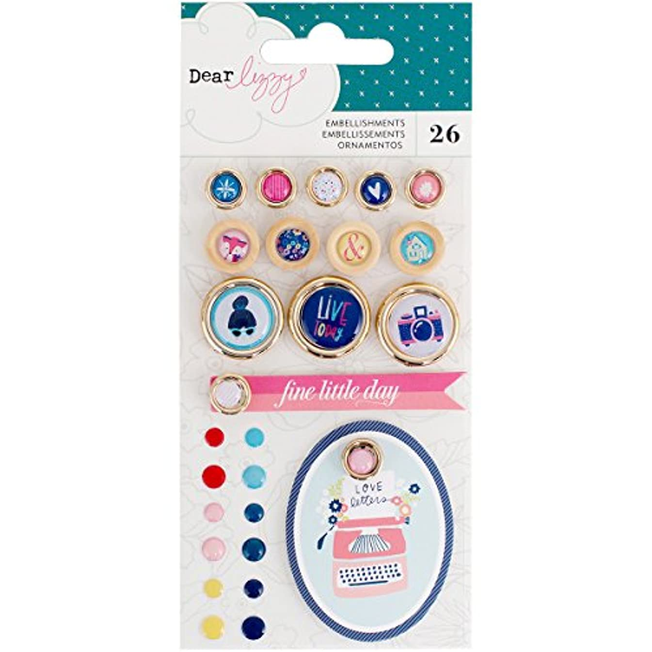 American Crafts Dear Lizzy Lovely Day Embellishment Pack 26 Piece Enamel Dots, Buttons, Tags