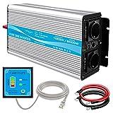CARRYBATT 1000W kfz Spannungswandler Wechselrichter Reiner Sinus 12V auf 230V-inkl.5 Meter Fernsteuerung-2-EU-AC-steckdoses & 1 USB - Spitzenleistung 2000 Watt für Auto, Wohnwagen, Boot, Camping