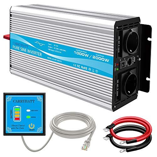 CARRYBATT 1000W/2000W Reiner Sinus Spannungswandler 12V auf 230V kfz Sinus Wechselrichter mit 1 USB Ports,Fernsteuerung,2 steckdoses,Kabel - Inverter Pure Sine Wave