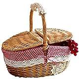 Cesta de Almacenamiento Almacenamiento Hecho a mano Cesta de mimbre Mimbre Camping Picnic Cesta de picnic de compras Almacenamiento Curtper y Manera de madera Mimbre Cesta de picnic para Casa