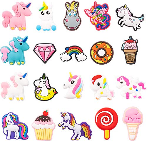 20PCS Unicorn Shoe Charms for Kids, Unicorn Shoe Decoration Charm for Clogs, Little Horse Shoe Charm for Girls Birthday Gift, Kawaii Decor for Slip-on, Treasure Toy Mini, Unicorn Party Favors