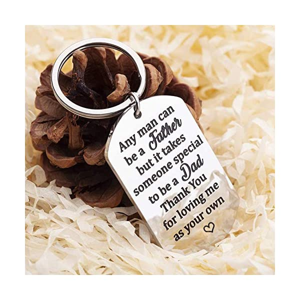 Step Dad Father's Day Gifts Keychain, Personalized Stainless Steel for Men