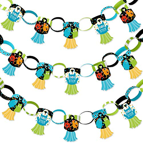 Big Dot of Happiness Monster Bash - 90 Chain Links and 30 Paper Tassels Decoration Kit - Little Monster Birthday Party or Baby Shower Paper Chains Garland - 21 feet