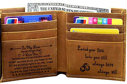 Engraved Mens Wallet Personalized Leather Wallet for Men Husband Dad Son Boyfriend...