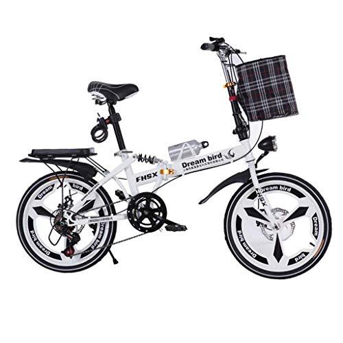 WLGQ Bicicleta Frenos de Disco de Cambio Plegables 20 Pulgadas Absorción de Golpes Bicicleta Plegable portátil Ultraligera Unisex (Color: Negro, Tamaño: 150 * 35 * 100CM)