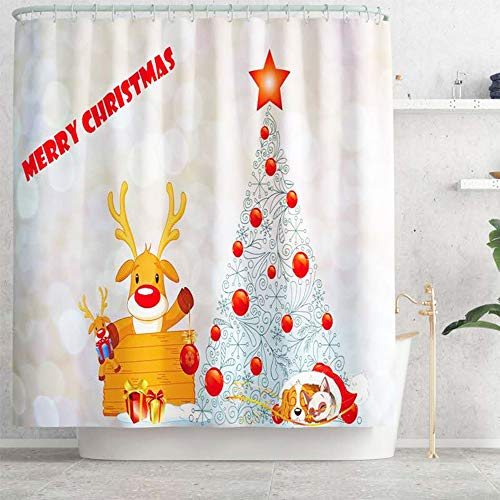 Usuallyhome Cute Cartoon Animal Portrait Picture Plain Yellow Shower Curtain, Christmas Reindeer and Christmas Tree with Lovely Dog Bathroom Waterproof Shower Curtain for Kids