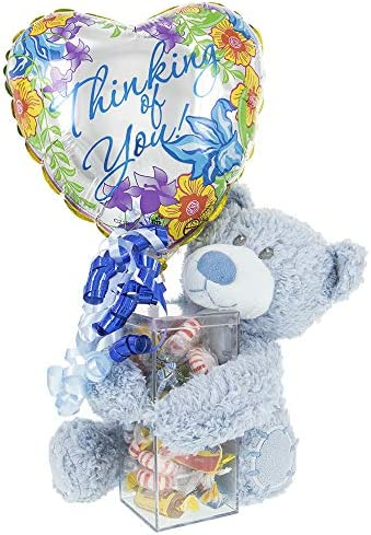 Thinking Of You Balloon Gift Teddy Bear Balloon Assorted Candy in Acrylic Case Cheer Up a Friend product image