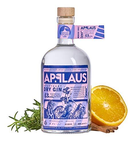 Applaus Dry Gin Original | ausgezeichneter Premium Gin | Micro-batch Gin mit 24 Botanicals | Zimt Rosmarin | Regionalität und Weltklasse | 1 x 0,5 L