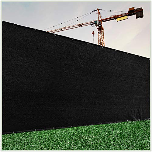 ColourTree Customized Size Fence Screen Privacy Screen Black 4' x 1' - Commercial Grade 170 GSM - Heavy Duty - 3 Years Warranty - Cable Zip Ties Included