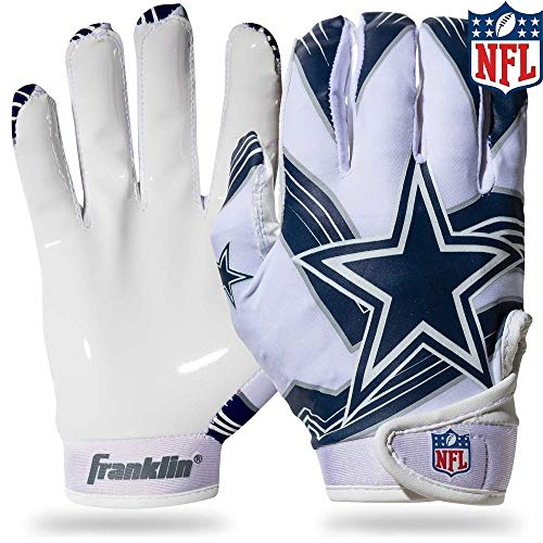 Franklin Sports Dallas Cowboys Youth NFL Football Receiver Gloves - Receiver Gloves For Kids - NFL Team Logos and Silicone Palm - Youth M/L Pair