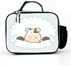 DuoduoBP Leather Insulated Label Cute Happy Cow Illustrations Clip Art Lunch Box Bag for Men Women,Leakproof Thermal Lunch Tote for Adult Kids,Lunch Cooler for Office Work Outdoor Picnic