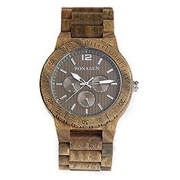 Particolare orologio di legno–Questo orologio in legno è fatta a mano con legno di sandalo da materie prime naturali di alta qualità. Movimento al quarzo a lunga durata e basse emissioni giapponese di alta qualità. Materiale di legno naturale–que...