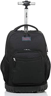 Trolley Travel Backpack, Large Capacity Student Big Wheel Trolley Bag, Travel Executive Mobile Office Business Carrying Suitcase (Color : Black, Size : 32 * 21 * 46cm)